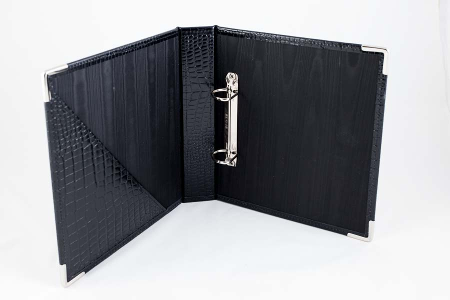 crocodile effect leather ring binder