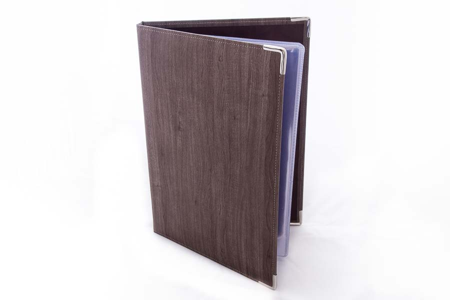 A4 PU display book using wood effect covering