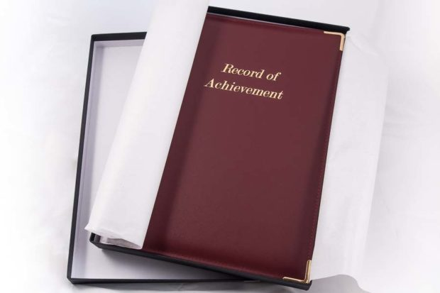 A4 'Record of Achievement' folder