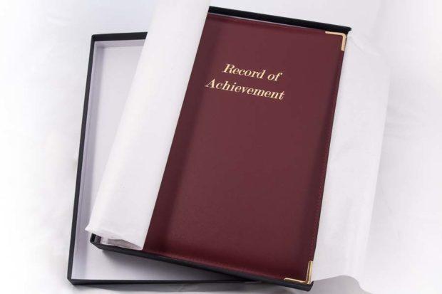 A4 folder 'Record of Achievement Folder' for Schools