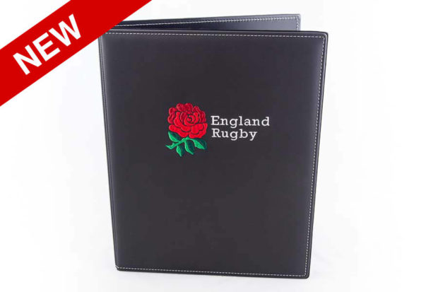 PVC folder with multicoloured embroidered logo