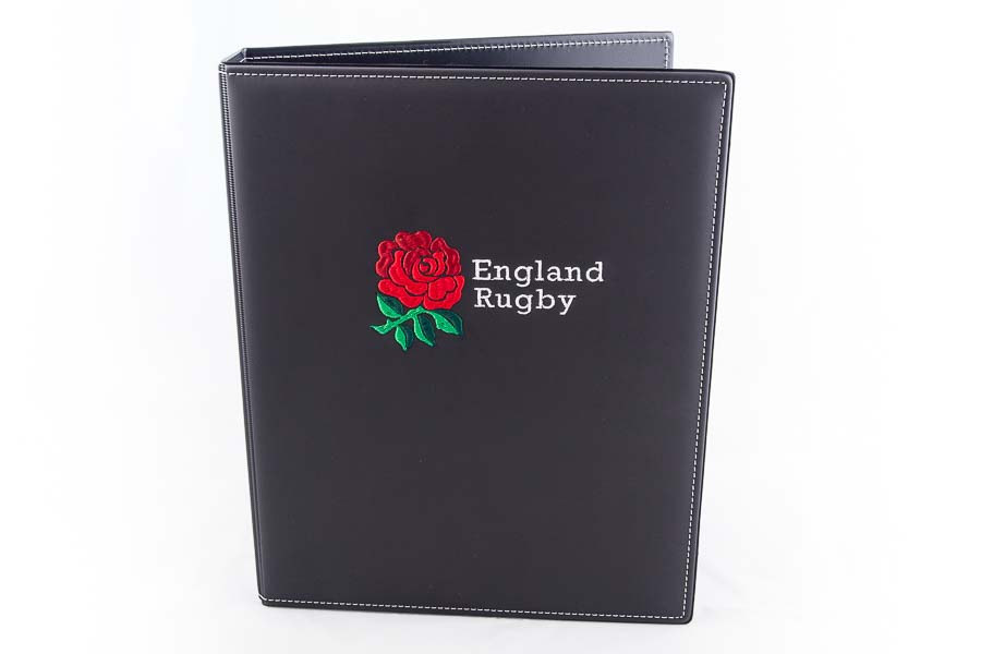 Folder with multicoloured embroidered logo
