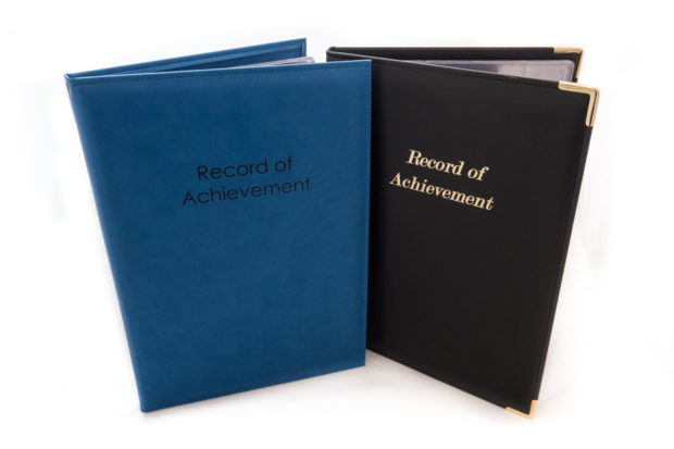 'Record of Achievement' folders